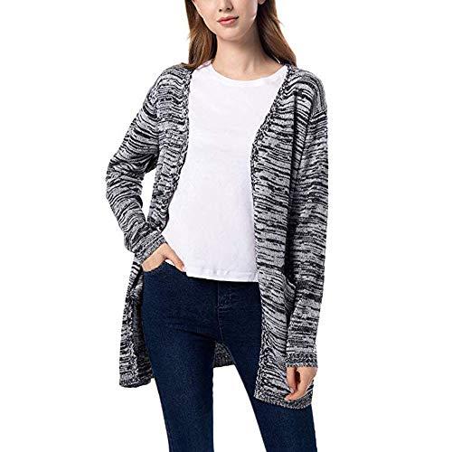 UJUNAOR Damen Graben Mantel mit V-Ausschnitt Herbst Casual Langer Pullover Cardigan(Grau,CN XL)