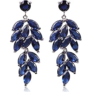 Yazilind Dazzling Rhodium Plated Chandelier Leaves Sapphire Blue Marquise Cut Cubic Zirconia Dangle Earrings