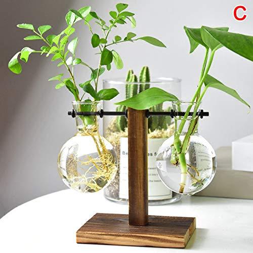 Bomoya Tisch Schreibtischlampe Glas,Hydrokultur Vase Blume Blumentopf mit Holzschale Büro Dekor, [Energieklasse A+] (Mit Blumen Glas-vase)