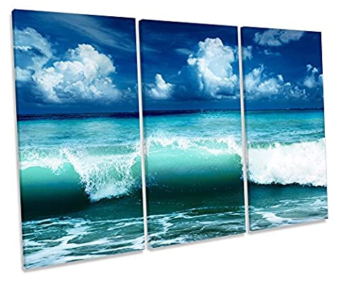 Blue Ocean Wave Beach Treble Leinwand Wand Art Box Rahmen Bild Druck, blau, 90cm wide x 60cm high