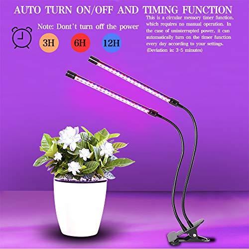 Led Pflanzenlampe Grow Led-LED Grow Light Lampe mit Automatische Ein- und Ausschaltzeitfunktion,40 Leds Dual Head Pflanzenlicht Led,360 Grad Verstellbares UV Lampe Pflanzen