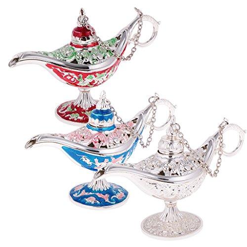 3 Stück Schmuckschatulle Arabischen Licht Genie Lampe - Rot Silber & Blau -