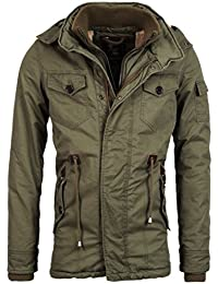 Herren gefütterte Winterjacke mit Fell Kapuze Coat der Marke Young & Rich Jacke Parka Mantel in der Farbe Grün XXL