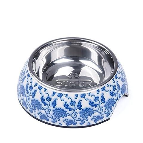 SUPER DESIGN klassische Fressnapf aus Edelstahl entfernbar rutschfest M Blau & Weiß Porcelain (Ss Muster)