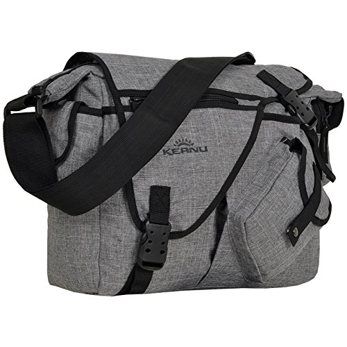 Umhängetasche Laptop/Tablet Jack Bag Tasche KEANU Messenger DIN A4 :: viele Einschubfächer und RV Fächer :: Auswahl (Grey Melange)