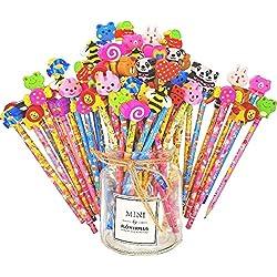 JZK Set 50 DE Madera Grafito lápices con borradores de Goma de Dibujos Animados para niños niños favores de Fiesta Regalar Gracias Regalo Relleno de Bolsas de Fiesta cumpleaños niños niñas