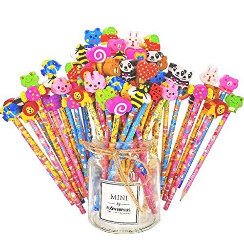 Jzk set 50 matita in legno con gomma matite grafite colorate con gomme bomboniera regalino per festa bambini compleanno battesimo comunione regalo compleanno regalo natale per bambina bambino