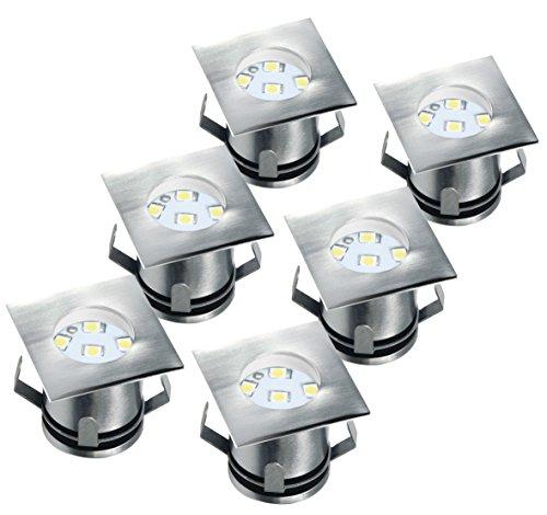 garten bodenleuchten Ranex 5000.476 LED-Bodeneinbaustrahler (6er-Set) für Außen / eckig / befahrbar / belastbar bis zu 1.250 kg / 12 Volt Niedervolt (inkl. Netzteil) / 12m Kabel