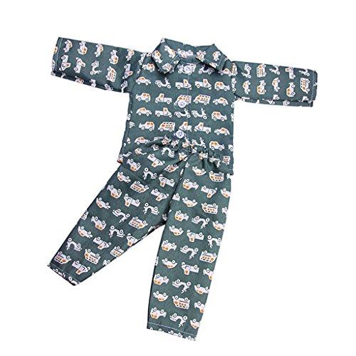 Baoblaze Fashion Puppe Pyjamas Nachtwäsche Nachthemd und Hose Set Für 18 Zoll Puppen - # C - Dunkelgrün (Und Mädchen Nachthemd Puppe)