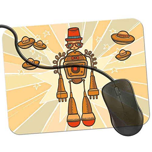 Gaming Mauspad Orange Hipster Schnurrbart Roboter Fransenfreie Ränder spezielle Oberfläche verbessert Geschwindigkeit und Präzision rutschfest 2K527