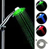 Mano Ducha led 7 colores temperatura con manguera 1.5m 3 Posición Cabezal ducha con luz,Cromo (3 colors)