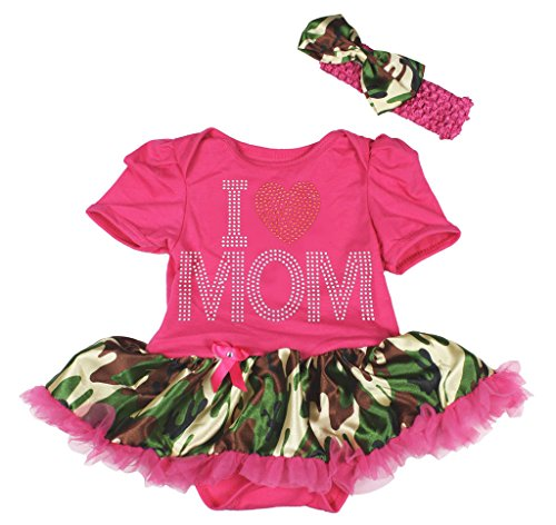 I Love Mom Hot Pink Bodysuit Camouflage Camo Tutu Baby Dress Girl Cloth Nb-18m (6-12 (Baby Tutu Camo)
