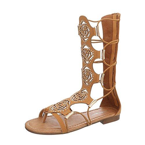 Ital-Design Zehentrenner Damen-Schuhe Zehentrenner Blockabsatz Zehentrenner Reißverschluss Sandalen & Sandaletten Camel, Gr 38, Jc-170- -