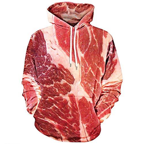 OverDose Unisex Damen Herren 3D Printed Raw Fleisch Pullover Langarm mit Kapuze Sweatshirt Tops Bluse Faschingskostüme Karneval Kostüm(A-Red ,2XL) (Red-raglan-Ärmel)