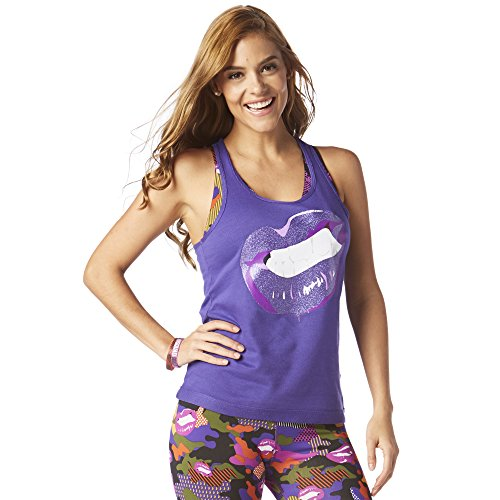 Zumba Fitness® Amarilla it out Ribbed Racerback Mujer Tops, Todo el año, Mujer, Color Blue and You, tamaño Medium