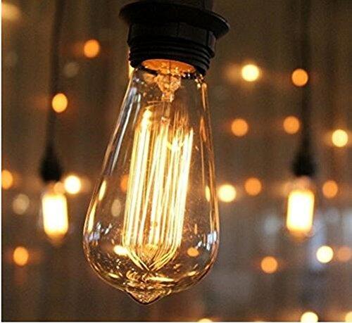 Running Fish 3 Pack E27 60W ST64 Vintage Edison Glühlampe Filament Fadenlampe Edison Lampe Vintage Stil Glühbirne Squirrel Cage Retro Lampe Antike Beleuchtung 220V [Energieklasse A] - 5