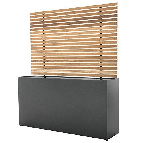 Generic Gartensilber Sichtschutzquader, Pflanzgefäß mit Holzsichtschutz anthrazit. ca. 150x42x80 cm