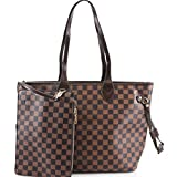 LeahWard Damen 2 IN 1 Schultertasche mit Clutch Bag Designer-Einkaufstaschen 861 (BRAUN)