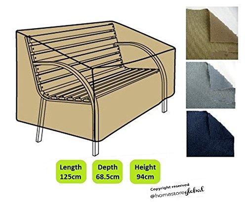 HomeStore Global Schutzhülle für Gartenbank mit Runde Armlehnen – 125 (l) x 68.5 (p) x 94/63.5 (h) cm, Dicke & Hochwertiges strapazierfähiges 600D Polyester Canvas mit Doppel...