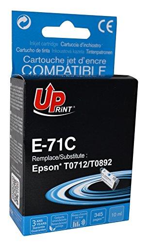 Cartouche compatible EPSON T0712/ T0892 - Cyan - marque : UPrint E-71C - Imprimantes : STYLUS D120 / STYLUS D78 / STYLUS D92 / STYLUS DX4000 / STYLUS DX4050 / STYLUS DX4400 / STYLUS DX4450 / STYLUS DX5000 / STYLUS DX5050 / STYLUS DX6000 / STYLUS DX6050 / STYLUS DX7000F / STYLUS DX7400 / STYLUS DX7450 / STYLUS DX8400 / STYLUS DX8450 / STYLUS