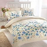 Oriental Paige Floral Printed Bedding Duvet Quilt Cover Set, Cream / Blue - King Size