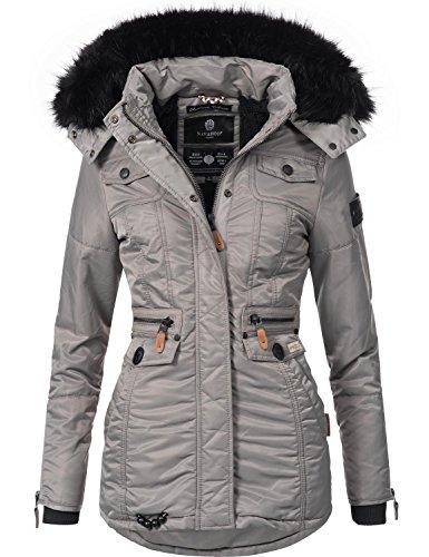Navahoo schätzchen giacca trapuntata invernale da donna con cappuccio in pelliccia sintetica grigio xl