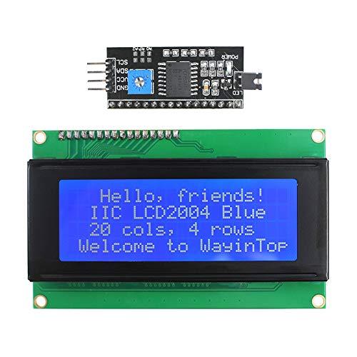WayinTop 20x4 2004 Pantalla del Módulo LCD con Adaptador de Interfaz Serial IIC I2C TWI para Arduino Uno R3 Mega 2560 (Azul/2004)