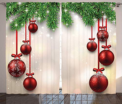 Muccum Christmas Curtain Decorations Xmas Inspired Winter Season Theme Fir Twigs and Vibrant Balls Decor Graphic Print Living Room Bedroom Curtain s Set 108 X 90 Inches Green Red White