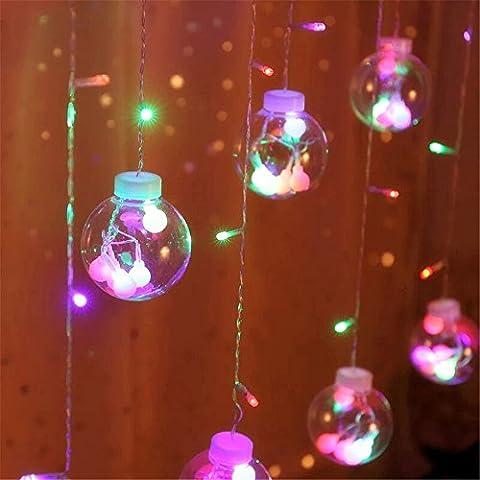 DulceCasa 3m x 0.55 -0.8- 1m Grande Bola 8cm Gotitas Cristal Guirnaldas Bombillas Lámpara LED decorativo Impermeable Fiesta Navidad Boda Decoración Árbol Cortina Luminosas Hadas luz Inicio Partido - Multicolores (4 colores)