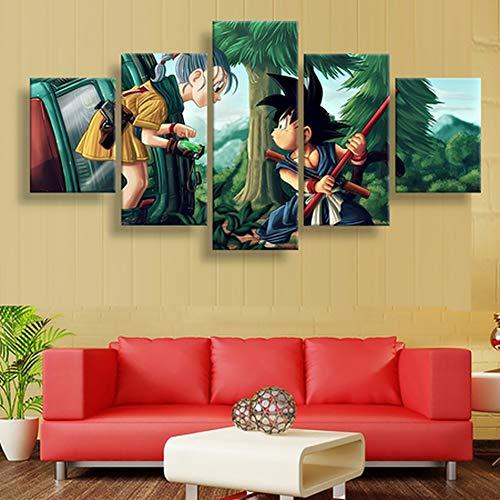 QJXX CuadrosEnLienzo 5 Piezas De Dibujos Animados Dragon Ball Goku Imagen Obras De Arte Moderno Inicio Decoración De Pared Arte HD Imprimir Enmarcado,C,20 * 35 * 220 * 45 * 220 * 55 * 1