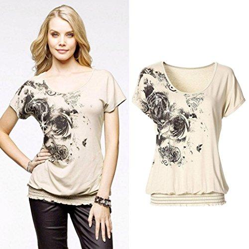 Ularma Damen T-Shirt mit Blumen Aufdruck U-Ausschnitt Kurzarm Regular Fit Oberteil Beige