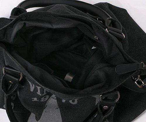 Damen Handtasche Tasche mit Stern Canvas Tasche Umhängetasche Schultertasche canvas Henkeltaschen dunkelgrau 0682