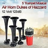 5Pcs 125DB Black Trumpet Musical Dixie Car Duke of Hazzard + Compressor 12V Car Air Horn