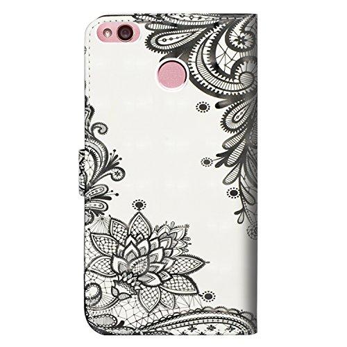 para Xiaomi Mi MAX 2 Funda, Cuero De La PU Magnético Capirotazo Billetera Apoyo Bumper Protector Cover Funda Carcasa Case - Flor Negra Diagonal