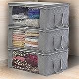 Edhua - Cajas de Almacenamiento Plegables con Tapa extraíble, con Cremalleras, tamaño King para edredones, Mantas, Ropa de Cama, edredones, Ropa, suéteres, Gris,
