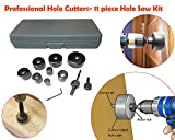 #6: Professional Hole Cutters- 11 Piece Hole Saw Kit, 19-64mm Metal Alloys Wood Hole Saw Cutting Set | Hole Saw Cutting Set |