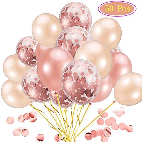 Homealexa 50 Stück Luftballons Rose Gold, 12 Zoll Konfetti Luftballons Ballons Helium Luftballons für Hochzeit Verlobung Valentinstag Mädchen Kinder Geburtstag Taufe Kommunion Party Deko