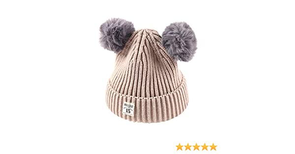 Red Xshuai Baby Hat for 2-8 Years Old Kids Fashion Newborn Infant Toddler Cute Winter Warmer Ball Cap Baby Girl Boy Letter Hats Knitted Wool Hemming Hat