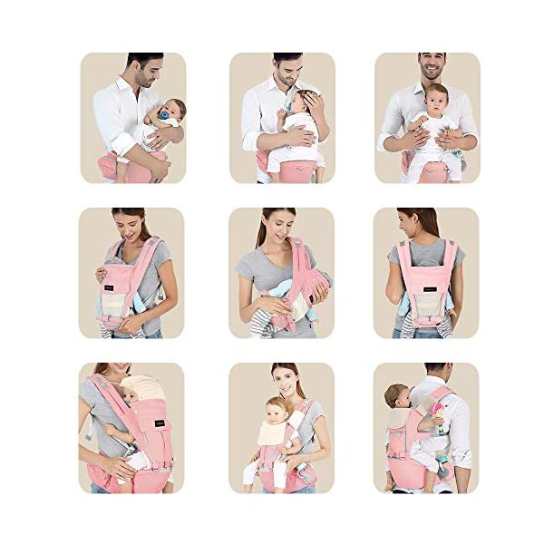 Azeekoom Baby Carrier, Ergonomic Hip Seat, Baby Carrier Sling with Fixing Strap, Bibs, Shoulder Strap, Head Hood for Newborn to Toddler from 0-36 Month (Pink) Azeekoom 【More Ergonomic】 - Baby carrier for newborn has an enlarged arc stool to better support the baby's thighs, the M design that allows the knees to be higher than the buttocks when your baby sits, is more ergonomic.The silicone granules on the stool provide a high-quality anti-slip effect that prevents the baby from slipping off the stool. 【Various Methods of Carrying】- There are 5 combinations of ergonomic baby carrier and a variety of ways to wear them.Hip Seat/Fixing Strap + Hip Seat/Shoulder Strap + Hip Seat/Strap + Hip Seat/Strap, 5 combinations to meet your needs.Fixing Strap frees your hands and prevent your baby from falling over the stool.The shoulder straps reduce the burden on your waist and make you more comfortable. 【More Comfortable】 - The baby carrier is made of high quality cotton fabric with 3D breathable mesh for comfort and coolness. The detachable sunshade provides warmth in winter and fresh in summer. The detachable cotton slobber allows you to Easy to change. At the same time, the zip closure is designed for easy removal and cleaning. 7