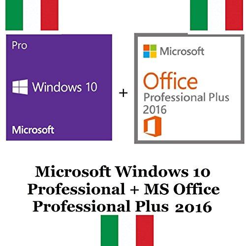 MICROSOFT WINDOWS 10 PRO + OFFICE PROFESSIONAL PLUS 2016 32/64 BIT KEY CHIAVE LICENZA ITA