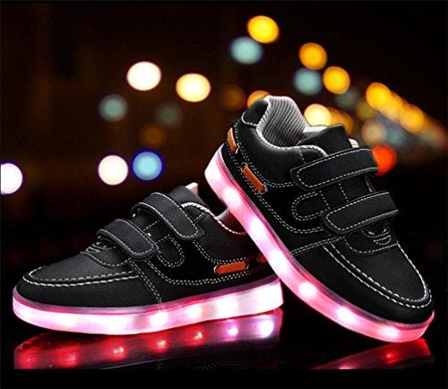Meninos Sapatos Pretos Meninas Sapatos Usb Luzes Carregamento Piscando E Levou as Crianças Cores 7 Desportivos Levou ZnpwqICS6