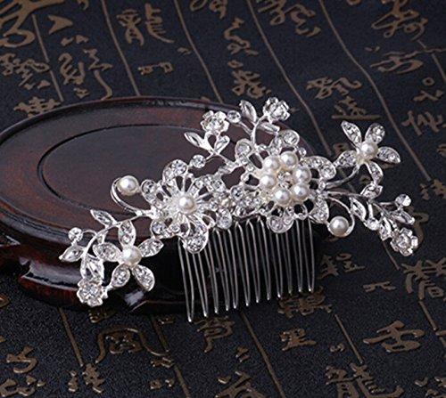 ulooie Elegante Charm Brautschmuck Hochzeit Silber Kristall Strass Perlen Frauen Haar Kamm Clip