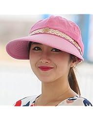 LKMNJ La Sra. Sun Software Sombreros Sombreros plegable borde ancho vacío arriba playa ,el rojo