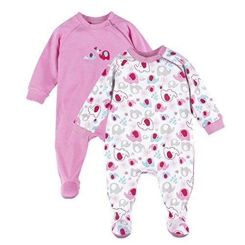 BORNINO 2er-Pack Schlafoveralls Baby-Nachtwäsche Baby-Schlafanzug, Größe 86/92, rosa
