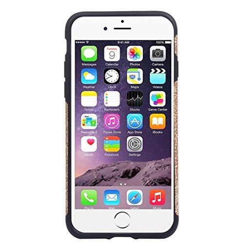 Hülle für iPhone 7 plus , Schutzhülle Für iPhone 7 Plus Soft TPU Schutzmaßnahmen Glitzer Puder PU Paste Haut Fall ,hülle für iPhone 7 plus , case for iphone 7 plus ( Color : Black ) Gold