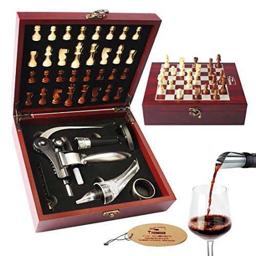 yobansa 6pc von Wein Accesory Set, Wein Stopper Luftsprudler Wing Korkenzieher Set, Wein Werkzeug-Set für Rot Wein Reddish Box Chess 6PC