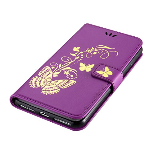 iPhone 7 Plus Cuir Violet Etui Bronzante Papillon, iPhone 7 Plus Housse, Moon mood® PU Cuir Wallet Case pour iPhone 7 Plus 5.5 pouce Portefeuille de Carte Slots Support Case Cover Housse Debout Foncti Violet