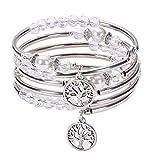 KANKOO Stein Armband Armband Frauen Kristall Natursteine Lebensbaum Natürliches Wunderschönes Mit Mehreren Ringen Mehrschichtiges Yoga Wickelarmband