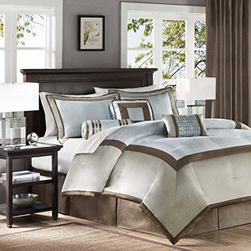 Madison Park Genevieve Bettdecken-Set für King-Size-Bett in Einer Tasche, Auqa, Taupe, 7-teilig King blau -
