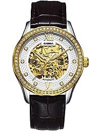 Reloj mecánico de hombre Correa de cuero Patrón dial Diamond Hollow , white / brown belt
